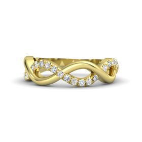 14K Yellow Gold Ring with White Sapphire and Diamond