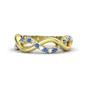 14K Yellow Gold Ring with Sapphire & Aquamarine