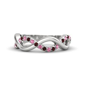 Sterling Silver Ring with Red Garnet and Pink Tourmaline