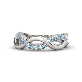 14K White Gold Ring with Blue Topaz & Diamond