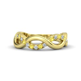 14K Yellow Gold Ring with Yellow Sapphire and Diamond
