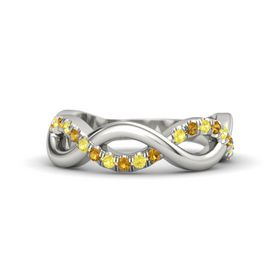 Palladium Ring with Yellow Sapphire and Citrine