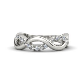 Platinum Ring with Rock Crystal and Diamond
