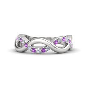 Sterling Silver Ring with Amethyst & Diamond