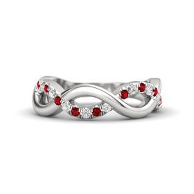 Sterling Silver Ring with Ruby and White Sapphire