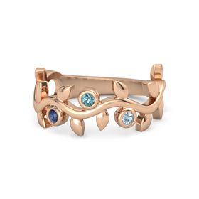 Round London Blue Topaz 14K Rose Gold Ring with Blue Sapphire and Aquamarine