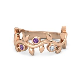 Round Amethyst 14K Rose Gold Ring with Amethyst and Diamond