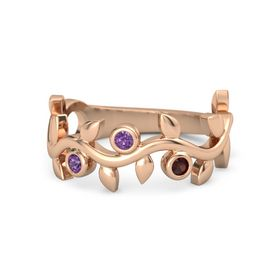 Round Amethyst 14K Rose Gold Ring with Amethyst and Red Garnet
