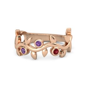 Round Amethyst 14K Rose Gold Ring with Amethyst & Ruby