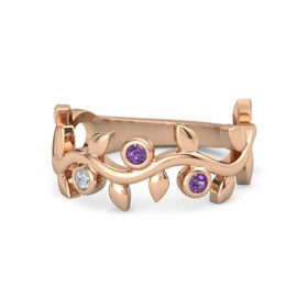 Round Amethyst 14K Rose Gold Ring with Diamond and Amethyst