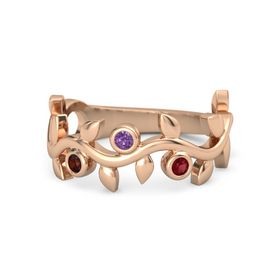 Round Amethyst 14K Rose Gold Ring with Red Garnet and Ruby