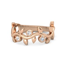 Round Rock Crystal 14K Rose Gold Ring with Rock Crystal and Diamond