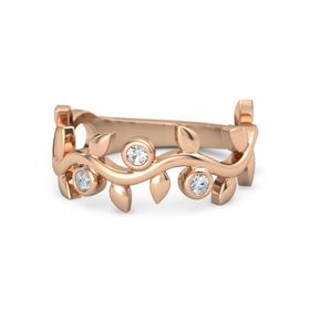 Round Rock Crystal 14K Rose Gold Ring with Diamond