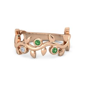 Round Emerald 14K Rose Gold Ring with Diamond & Emerald
