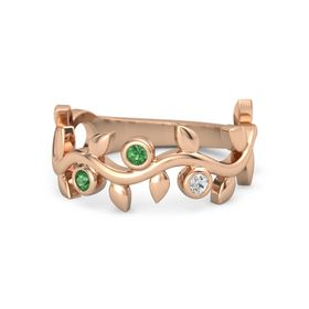 Round Emerald 14K Rose Gold Ring with Emerald and White Sapphire