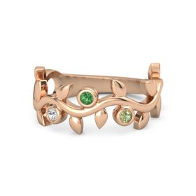Round Emerald 14K Rose Gold Ring with White Sapphire and Peridot