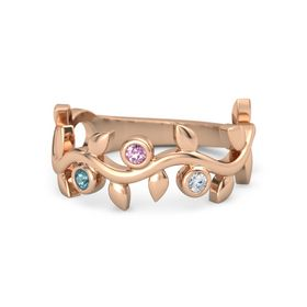 Round Pink Sapphire 14K Rose Gold Ring with London Blue Topaz and Diamond