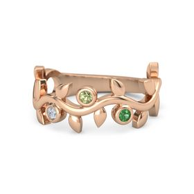 Round Peridot 14K Rose Gold Ring with Diamond and Emerald