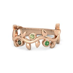 Round Peridot 14K Rose Gold Ring with Green Tourmaline & Emerald