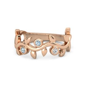 Round Aquamarine 14K Rose Gold Ring with Aquamarine and White Sapphire