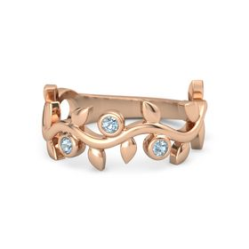 Round Aquamarine 14K Rose Gold Ring with Aquamarine