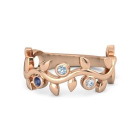 Round Aquamarine 14K Rose Gold Ring with Sapphire & Diamond