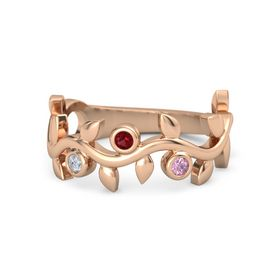 Round Ruby 14K Rose Gold Ring with Diamond and Pink Sapphire