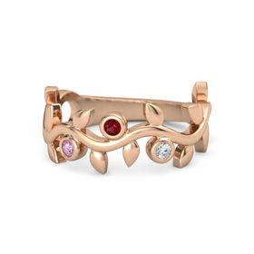 Round Ruby 14K Rose Gold Ring with Pink Sapphire and Diamond