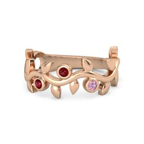 Round Ruby 14K Rose Gold Ring with Ruby and Pink Tourmaline