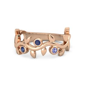 Round Blue Sapphire 14K Rose Gold Ring with Blue Sapphire and Iolite