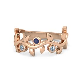 Round Blue Sapphire 14K Rose Gold Ring with Blue Topaz
