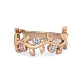 Round Blue Topaz 14K Rose Gold Ring with Pink Sapphire & Aquamarine