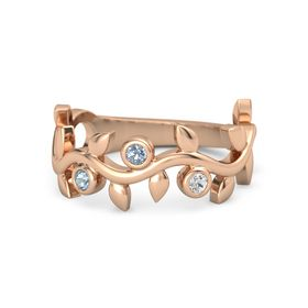 Round Blue Topaz 14K Rose Gold Ring with Aquamarine and White Sapphire