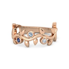 Round Blue Topaz 14K Rose Gold Ring with Blue Sapphire and Diamond