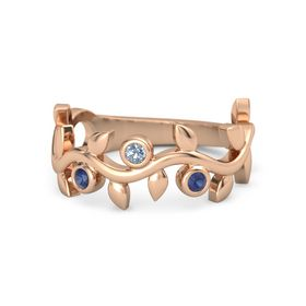 Round Blue Topaz 14K Rose Gold Ring with Sapphire
