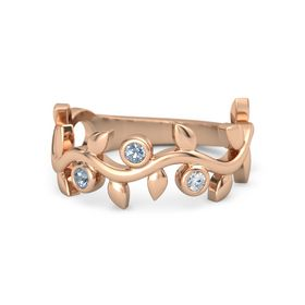 Round Blue Topaz 14K Rose Gold Ring with Blue Topaz and Diamond