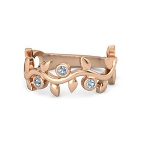 Round Blue Topaz 14K Rose Gold Ring with Blue Topaz and Aquamarine