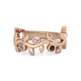 Round Pink Tourmaline 14K Rose Gold Ring with Rhodolite Garnet and Red Garnet