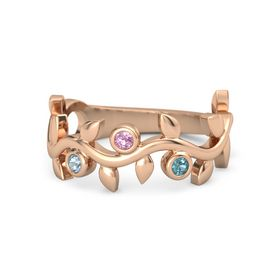 Round Pink Tourmaline 14K Rose Gold Ring with Aquamarine and London Blue Topaz