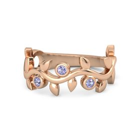 Round Tanzanite 14K Rose Gold Ring with Tanzanite