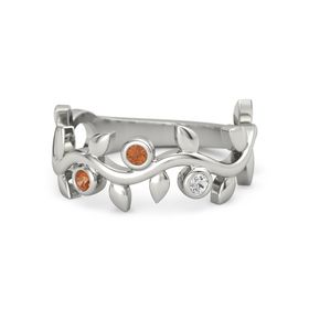 Round Fire Opal 14K White Gold Ring with Fire Opal and White Sapphire