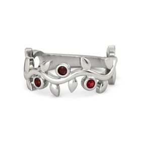 Round Red Garnet 14K White Gold Ring with Red Garnet and Ruby