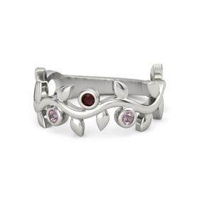 Round Red Garnet 14K White Gold Ring with Rhodolite Garnet