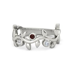 Round Red Garnet 14K White Gold Ring with White Sapphire and Diamond