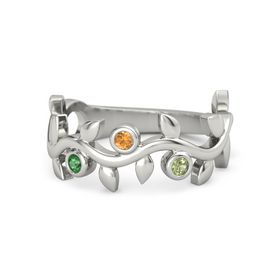 Round Citrine 14K White Gold Ring with Emerald and Peridot