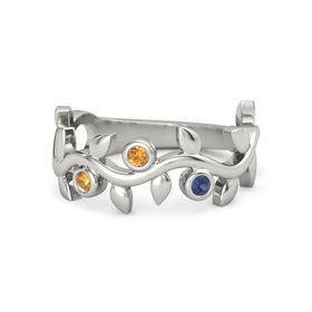 Round Citrine 14K White Gold Ring with Citrine and Blue Sapphire