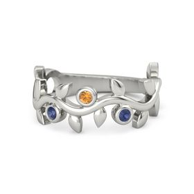 Round Citrine 14K White Gold Ring with Sapphire
