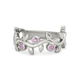 Round Pink Sapphire 14K White Gold Ring with Pink Tourmaline
