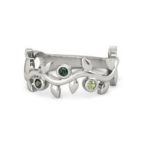Round Alexandrite 14K White Gold Ring with Green Tourmaline & Peridot