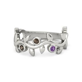 Round Smoky Quartz 14K White Gold Ring with Smoky Quartz and Amethyst
